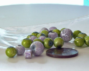 Lime Green and Violet Beads