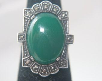Art Deco Chrysophrase Marcasite Ring