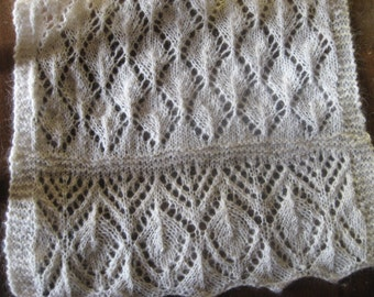 hand knit lace wool scarf