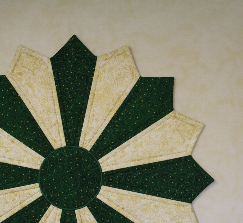 LARGE Quilted Table Topper Two Color Christmas Table Topper Starry Night Green with Gold Metallic