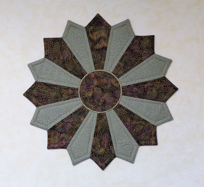 Quilted Table Topper Forest Floor Small Round Etsy