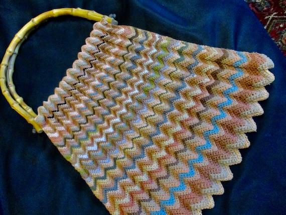 1970s Crochet Tote Bag - Chevron Crochet Handbag B