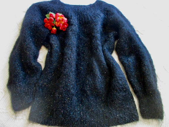 1980s Vintage Black Mohair Sweater Size 10 Hand Kn