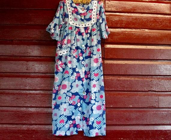 1960s Mod cotton voile robe sz 10