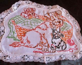 Scottie Dog Hand Embroidered Doily