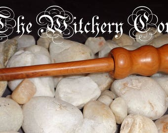 Handcrafted Ritual Wand made from Cherry Wood - Semi-size Wand - Altar Tool made in Scotland (S13)