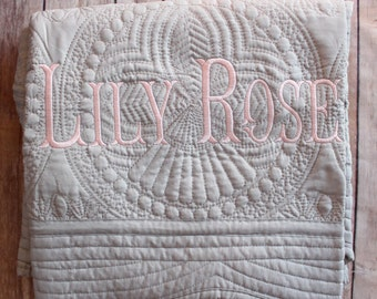 Monogram Baby Quilt, Personalized Quilt, Baby Shower Gift, Baby Quilt,  Baby Girl Quilt, Monogrammed Baby Gift, Christening Gift, Baptism
