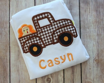Personalized Thanksgiving Shirt, Turkey Truck Boy's Thanksgiving Shirt, Boys Fall Shirt, Boy's Thanksgiving Shirt, Personalized Thanksgiving