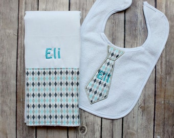 Baby Boy Burp Cloth Set, Monogrammed Argyle Burp Cloth and tie Bib, Baby Boy Gift, Personalized Baby Boy Gift, Baby Shower Gift, Tie Bib