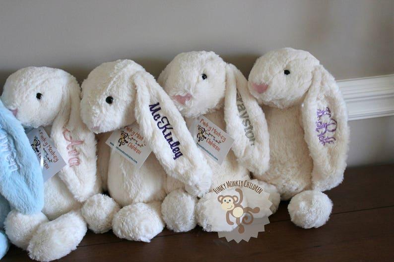 Monogrammed Bunny Personalized Bunny Bunny Rabbit Monogram image 0