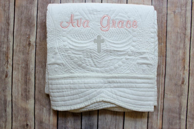 Monogrammed Baby Quilt Christening Quilt Baptism Quilt Baby image 0