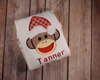 Personalized Sock Monkey Christmas Shirt -Santa Sock Monkey Monogrammed Christmas Shirt-Boy Christmas Sock Monkey-Girl Christmas Sock Monkey