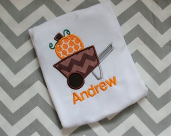 Personalized Boy's Fall Shirt -  Halloween Pumpkin Shirt  Boys Pumpkin Halloween Thanksgiving Fall Shirt