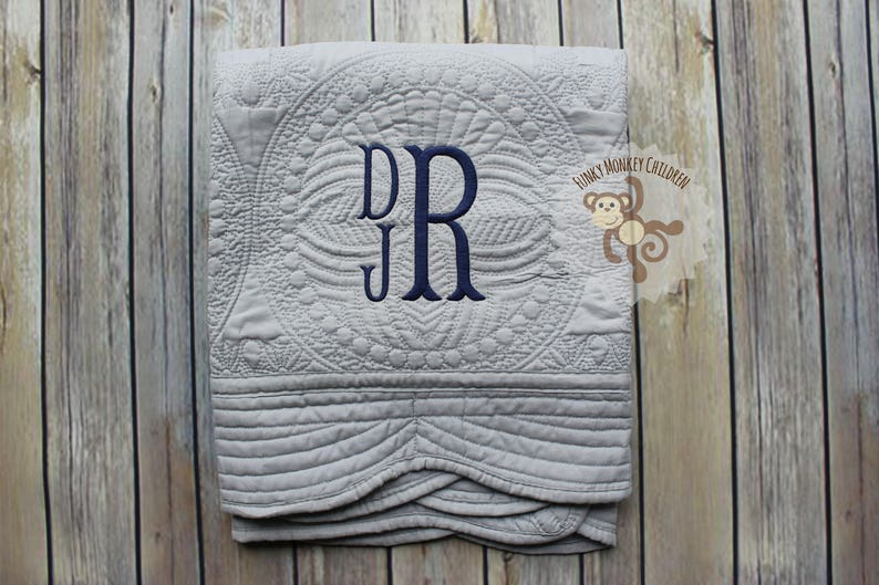 Monogrammed Baby Boy Quilt Personalized Baby Boy Blanket image 0