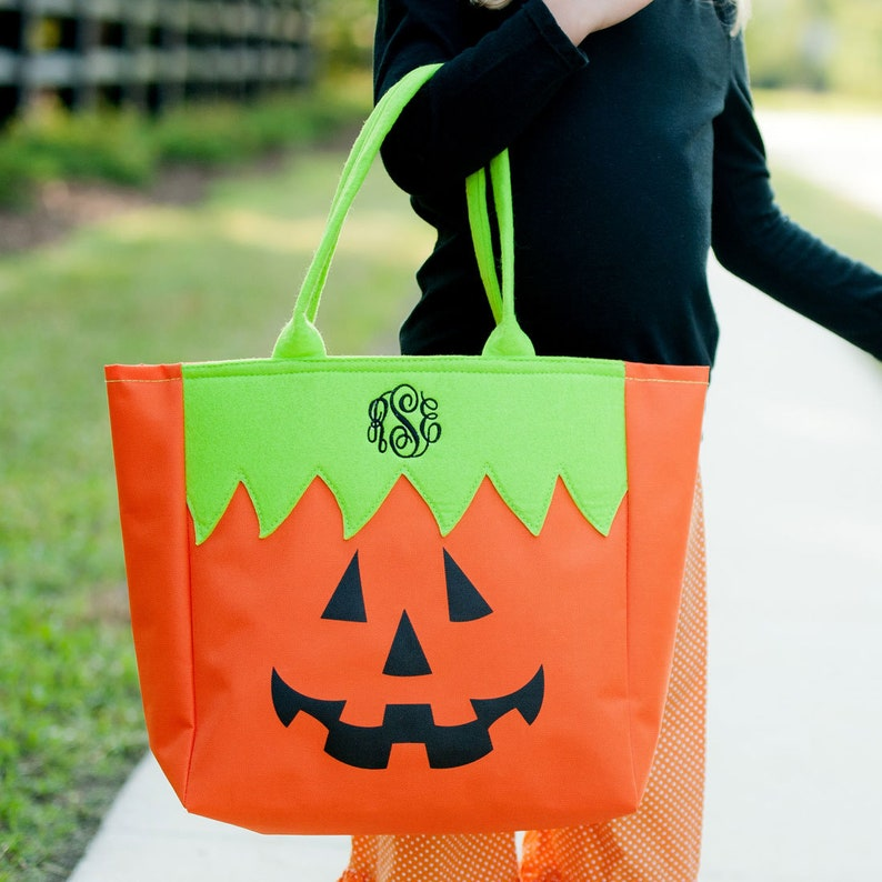 Personalized Halloween Trick or Treat Tote Bag Candy Bucket image 0