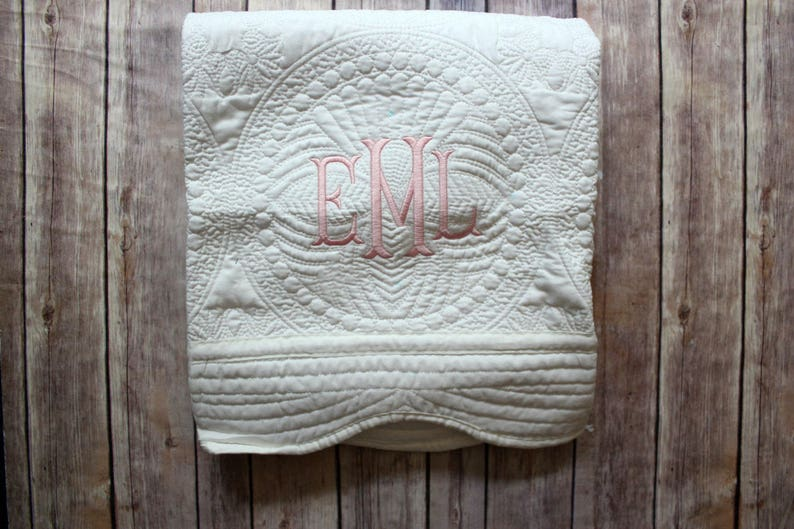 Personalized Baby Quilt Monogrammed Quilt Baby Blanket image 0