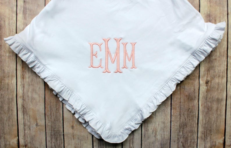 Monogrammed Baby Blanket Personalized Baby Blanket image 0