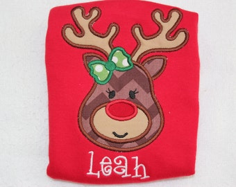 Personalized Christmas Shirt - Monogrammed Girls Reindeer Christmas Shirt, Girl's Christmas Shirt, Sibling Christmas Shirts, Coordinating