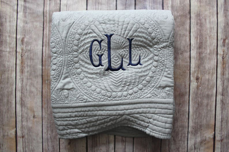 Monogrammed Baby Quilt Personalized Baby Blanket image 0