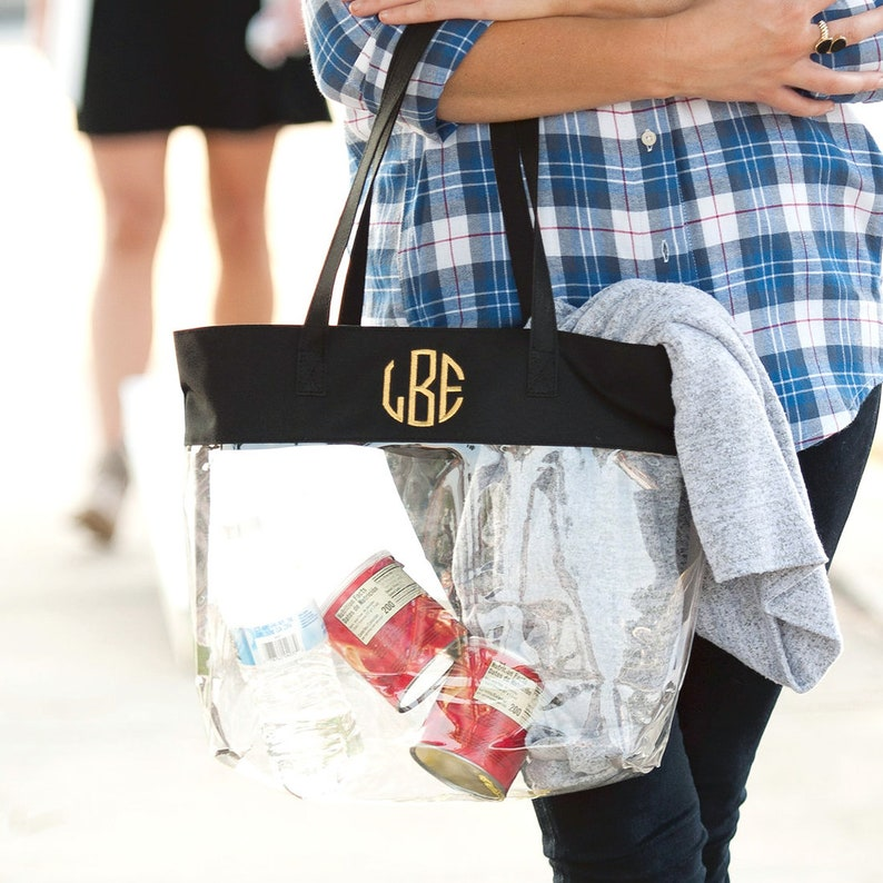 Monogrammed Clear Stadium Tote Crossbody Clear Bag image 0