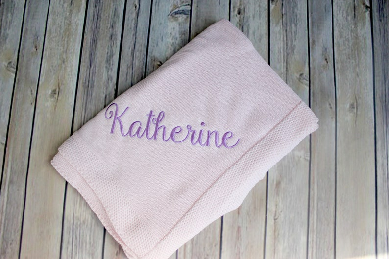 Cable Knit Blanket Light Weight Baby Blanket Embroidered image 0