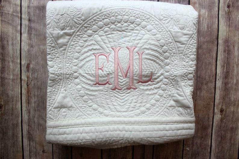 Monogram Baby Quilt Personalized Quilt Monogram Quilt image 0