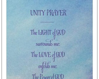 UNITY PRAYER; The Prayer of Protection by James Dillet FreemanSPIRITUAL inspirational keepsake; religious card