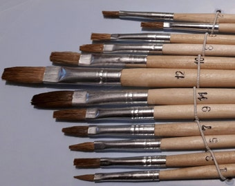 "12pcs Natural Bristle Paint Brush Set ""Flat"" - Professional Quality!"