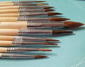 "12pcs Natural Bristle Paint Brush Set ""Round"" - Professional Quality!"