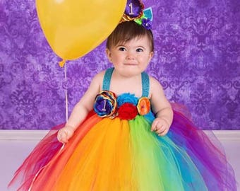 Beautiful Baby Girl First Birthday Tutu Dress Unicorn Theme In Rainbow Colors For 12 18 Months With Headband