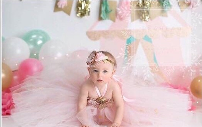 08174f8f59db2 Beautiful baby girl first birthday tutu dress in pink and gold   Etsy