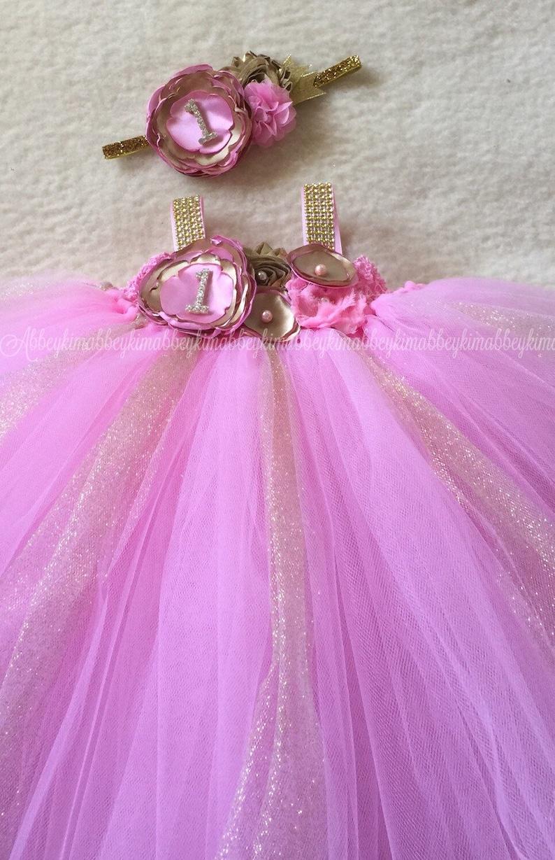 dd2269b1b3cec Beautiful baby girl first birthday tutu dress in medium pink   Etsy