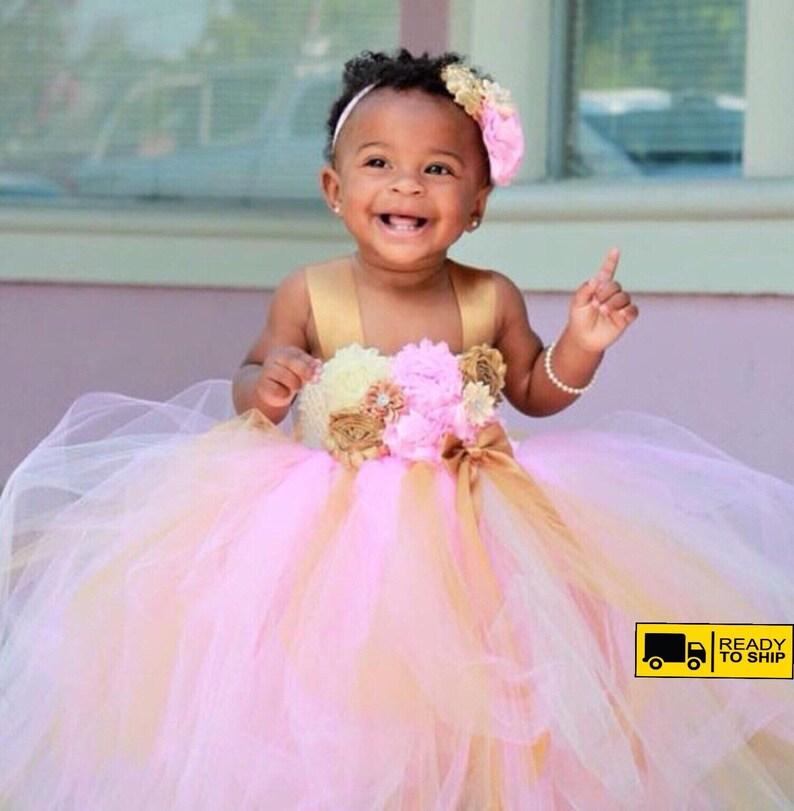 0fab1348d2ecb Beautiful baby girl first birthday tutu dress in pinkivory   Etsy