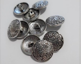 Set of 6 x 25mm Pewter Silver Domed Shank Buttons Blazer Jacket Sewing Knitting