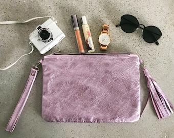 Leather clutch / Bridal clutch / Pink clutch / Wedding clutch / Bohemian bag / Bridesmaid clutch / Evening bag / Leather purse / Tassel