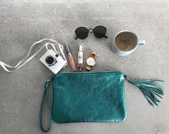 Leather clutch / Green leather clutch / Green purse / Purse with tassel / Leather evening bag / Bridesmaid clutch / Leather Handbag /