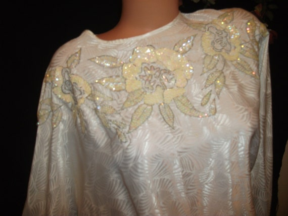Vtg Satin Shiny Sequin Blouse Top Batwing Bridal W
