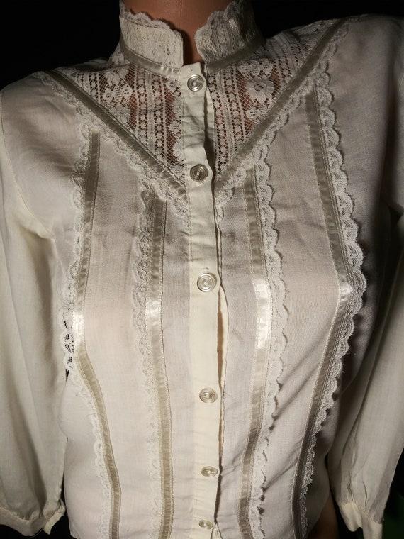 Vtg Cotton Sheer Blouse