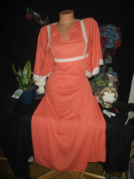 Vtg Silky Orange Flower Lace Nighty Gown Frosted B