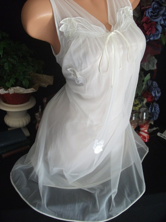 67aa593165 Vtg Silky Sheer Chiffon Mod Nighty Bridal Double Layer Wedding