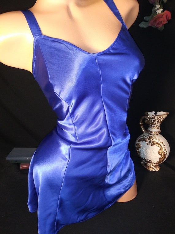 Vtg Satin Shiny Sapphire Babydoll Gown Shiny Nightgown Babydoll Lush Lounge Wide Lace Nighty Lingerie  M 40