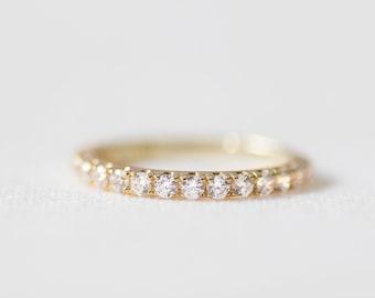 Stardust II - 14K Yellow Gold Half Eternity Diamond Ring - Handmade Jewellery