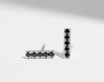 Pavé Bar Earrings  - 14K White Gold Black Diamond Ear Stud - Handmade Jewellery