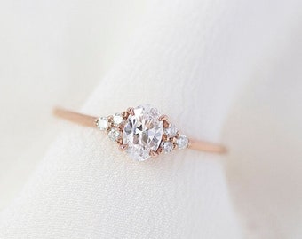 Soleil  - 14K Rose Gold Oval Cluster Diamond Ring - Handmade Jewellery