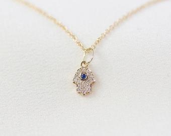 Mini Hamsa Hand Necklace  - 14K Yellow Gold Diamond Blue Sapphire Necklace - Handmade Jewellery