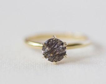 Delores - Black Rutilated Quartz 14K Yellow Gold Ring Black Rutile - Handmade Jewellery
