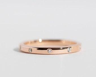 Luna - 14K Rose Gold Diamond Eternity Ring Band - Handmade Jewellery