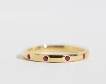 Luna - 14K Yellow Gold Ruby Eternity Ring Band - Handmade Jewellery