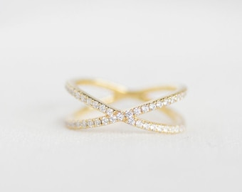 X Pave Diamond Ring - 14K Yellow Gold Diamond Ring - Handmade Jewellery