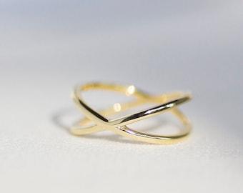 X Ring - 14K Yellow Gold Ring - Handmade Jewellery